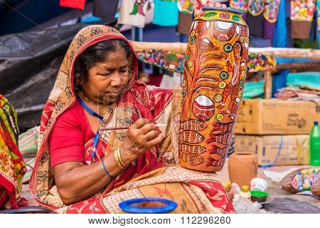 Craftswoman Creating Artistic Items
