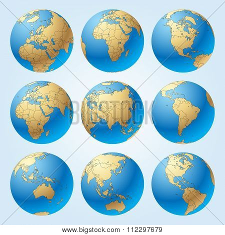 Globe set with with borders of world countries. Contain the Clipping Path of globes