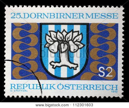 AUSTRIA - CIRCA 1973: stamp printed by Austria, shows Dornbirn Fair Emblem, circa 1973