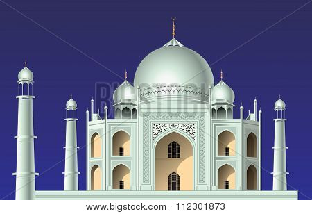 The view of famous building in India called mausoleum