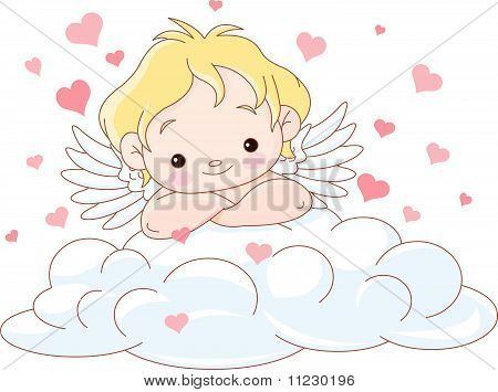 Cute Cupid Lying On A Cloud