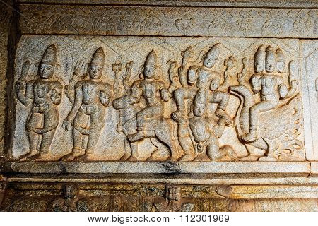 Artistic temple wall of an ancient South Indian Hindu temple