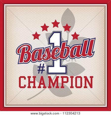 Baseball Champion Number One Badge