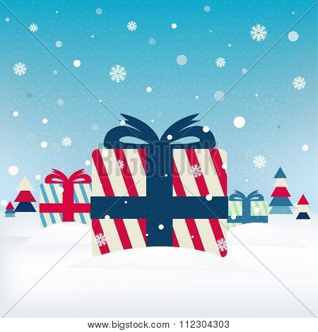 Xmas Postcard With Gifts With Gradient Mesh, Vector Illustration