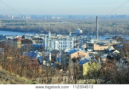 Kyiv, Ukraine,  December, 2015, year, Winter, urban, landscape, Podil, district.
