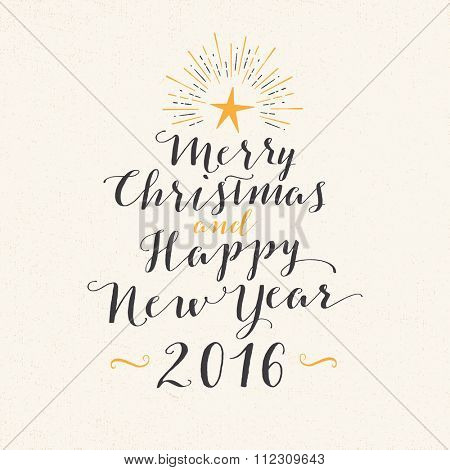 Handmade style greeting card - Merry Christmas and Happy New Year 2016 - Vector EPS10.