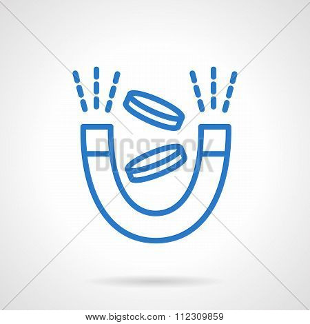 Money magnet vector icon simple blue line style