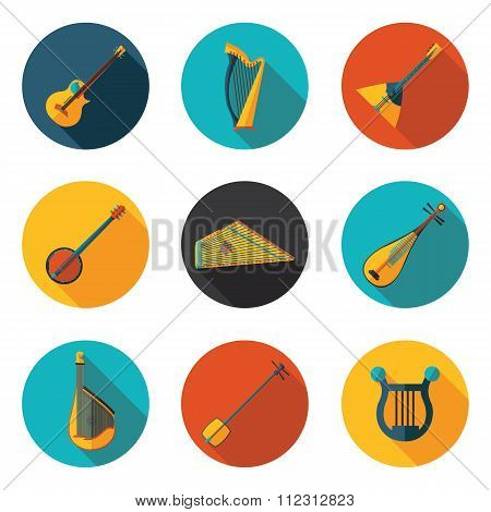 Stringed Musical Instruments Flat Icons