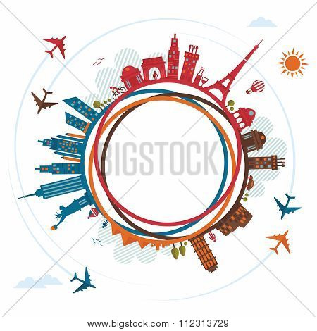 Vector Tourism Infograpic Doodle Illustration, with city landmarks, plane and sky