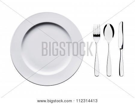 plate, fork, spoon, knife