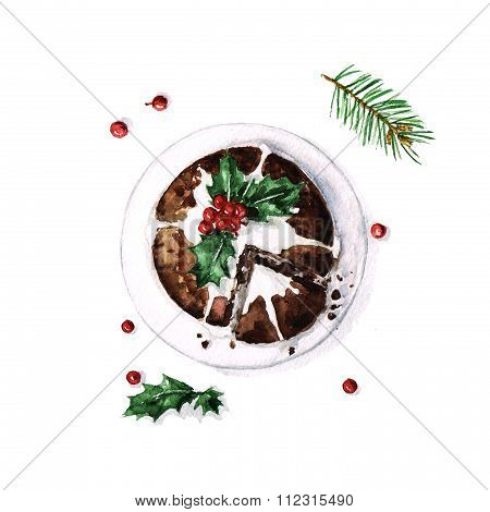 Christmas Pudding - Watercolor