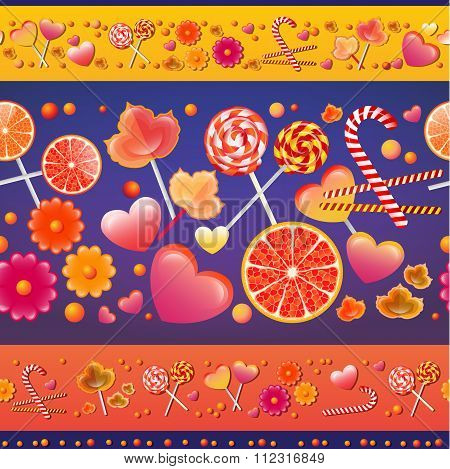 Vector seamless pattern with sweets and lollipops.