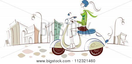 Vector Conceptual City Woman Livestyle Illustration