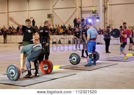 NOVOSIBIRSK, RUSSIA - NOVEMBER 16, 2014: Unidentified athletes during the International crossfit competition Siberian Showdown. The competition included in the program of the festival Siberian Health