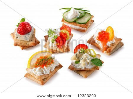 set of gourmet crackers snacks close-up isolated on white background poster