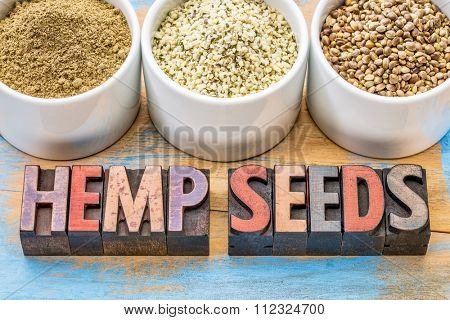 hemp products: seeds, hearts (shelled seeds) and protein powder in small ceramic bowls on a grunge wood with a text in vintage letterpress wood type