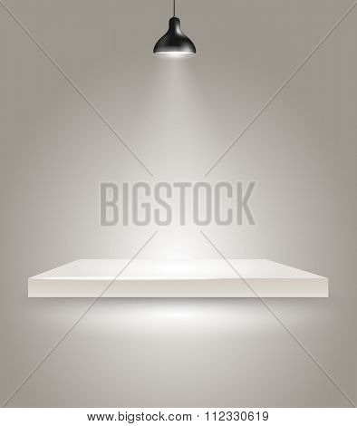 Bright stage with the lamp