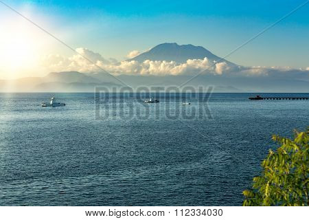 View On Bali From Ocean, Vulcano In Clouds