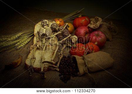 Skull In Still Life Style.
