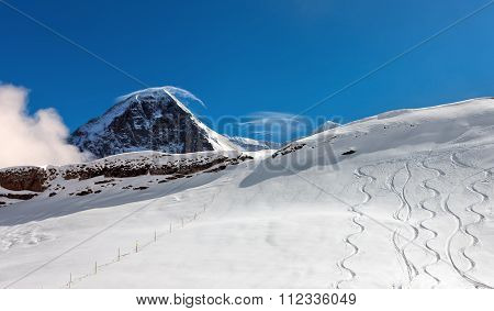 Ski Slope In The Background Of Mount Eiger.