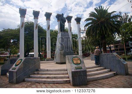 Loja, Ecuador - November 29, 2015: Monument To One Of The Square