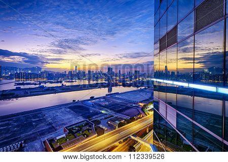 Hong Kong city sunset, view from kowloon.