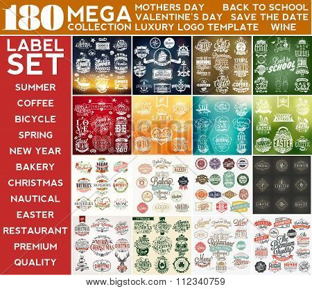 Mega Collection Label Set, Mothers Day, Summer, Valentine's Day, Coffee, Nautical, Back To School, S