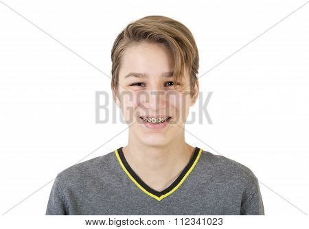 Smiling Teen Boy With Orthodontic Braces