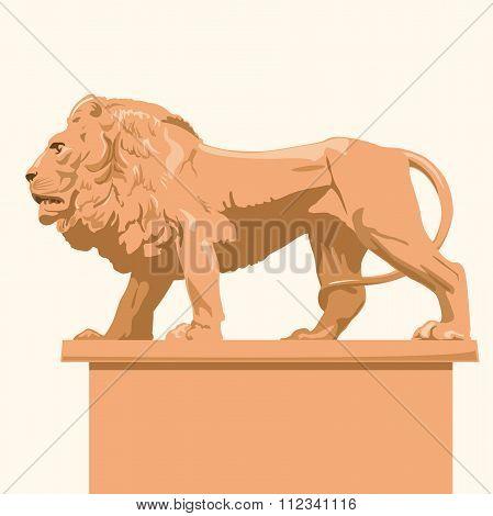 Big monumental profile lion body