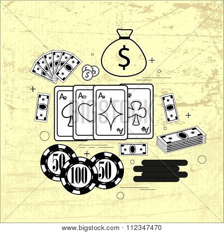 The subject on the table: cards, money, chips