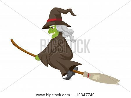 Cartoon of a witch flying with her broom