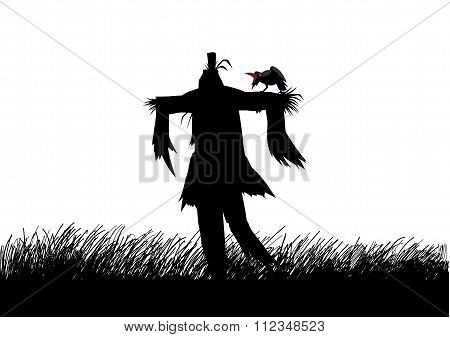 Silhouette illustration of a scarecrow on a field