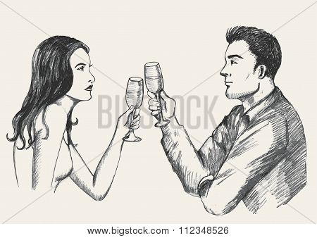 Sketch illustration of a man and woman having a glass of wine