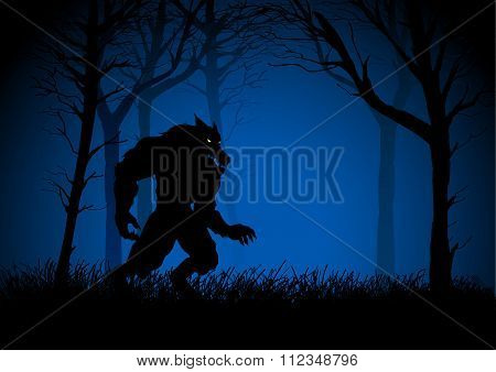 A Werewolf lurking in the dark woods
