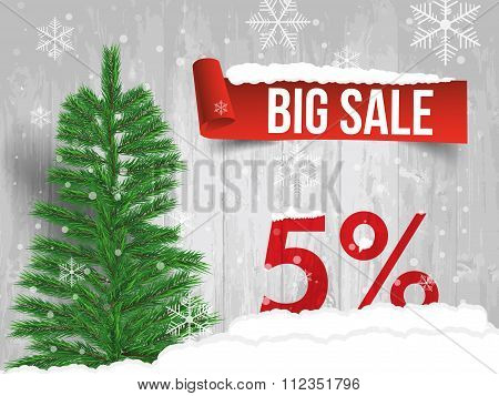 Winter Sale 5  Percent. Winter Sale Background With Red Ribbon Banner And Snow. Sale. Winter Sale. C