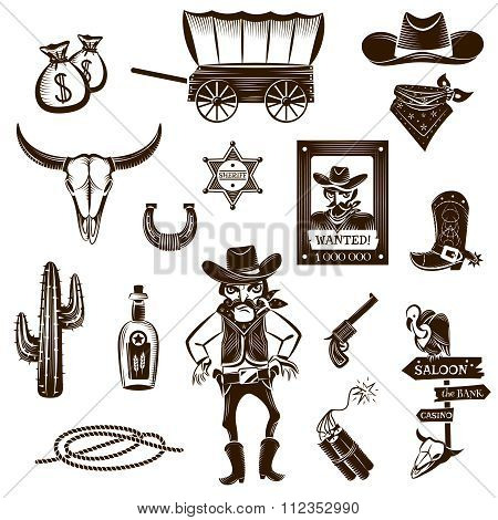 Cowboy Black White Icons Set
