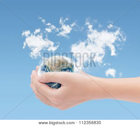 Hand Holding Earth On World Clouds Map Background ,elements Of This Image Furnished By Nasa