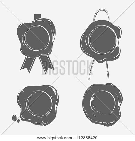 Wax seals black silhouette templates set