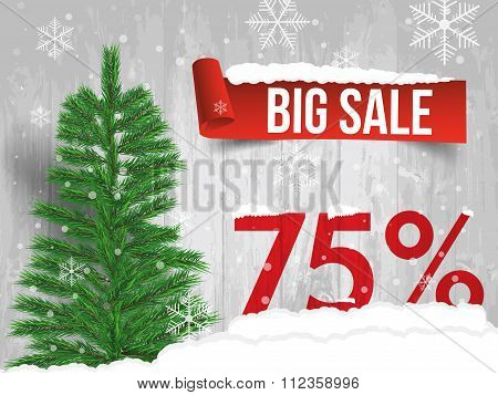 Winter Sale 75 Percent. Winter Sale Background With Red Ribbon Banner And Snow. Sale. Winter Sale. C
