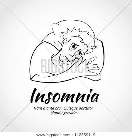 Outline sleepless man character