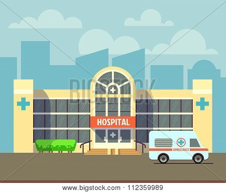 Vector city hospital building in flat design style