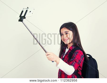 Pretty School Girl Doing Selfie