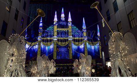 New York City, New York - December 2015: Christmas Display in Rockefeller Center
