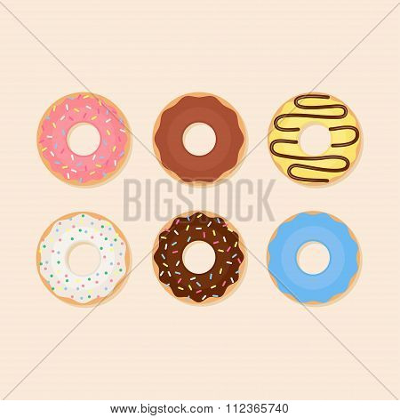 Donut vector flat illustration