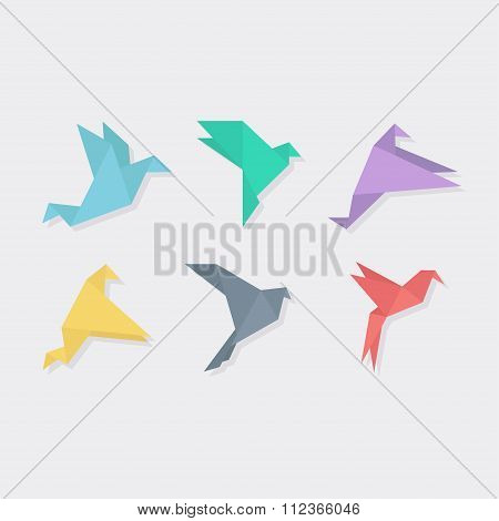 Origami bird vector illustration of flat