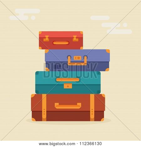 Suitcases stacked vector illustration