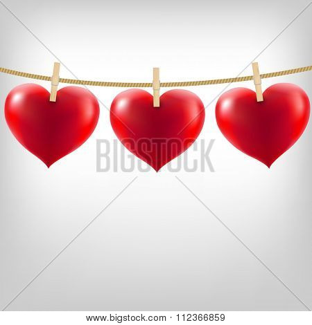 Hearts With Clothespegs