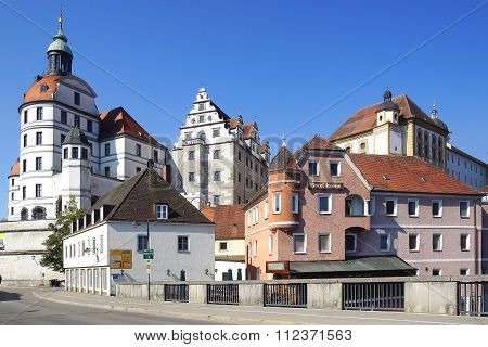 Residenzschloss Or Neuburg Castle In Ancient Historic Medieval Old Town.