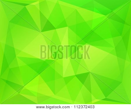 Abstract Polygonal Geometric Background With Neon Green Diagonal Symmetry Texture, In Vector