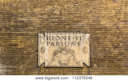 Ancient Marble Plate In Rome